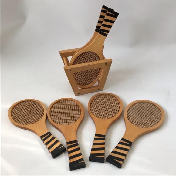 Vintage cork wood coasters mini tennis rackets